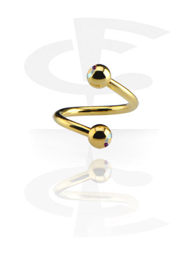 Gold-Plated Double Jewelled Twisted Barbell