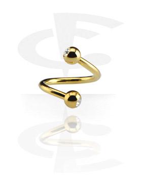 Spirale dorata con due brillantini