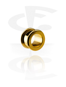 Tunnels & Plugs, Flesh Tunnel with Rounded Edges, Gold Plated