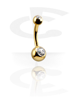 Curved Barbells, Gold-Plated Double Jewelled Curved Barbell, Gold Plated