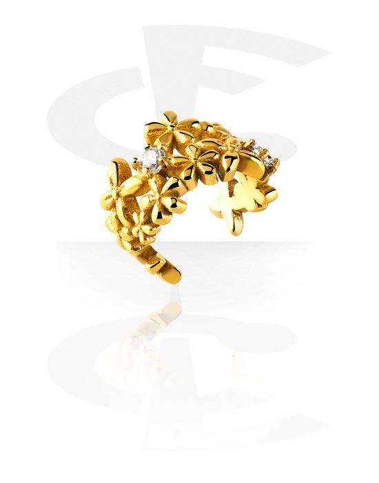 Feikkikorut, Ear cuff, Kultapinnoitteinen kirurginteräs 316L