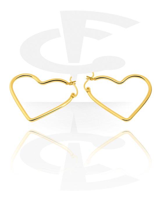 Naušnice, Earrings s Heart Design, Pozlaćeni kirurški čelik 316L
