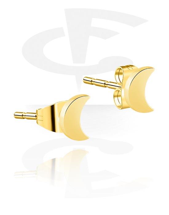 Korvakorut, Ear Studs kanssa Moon Design, Kultapinnoitteinen kirurginteräs 316L