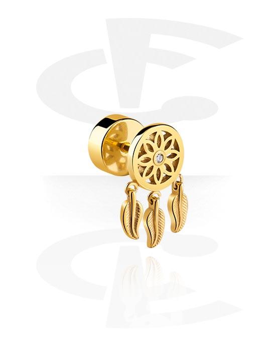 Lažni piercing nakit, Fake plug s Dreamcatcher Design, Pozlaćeni kirurški čelik 316L