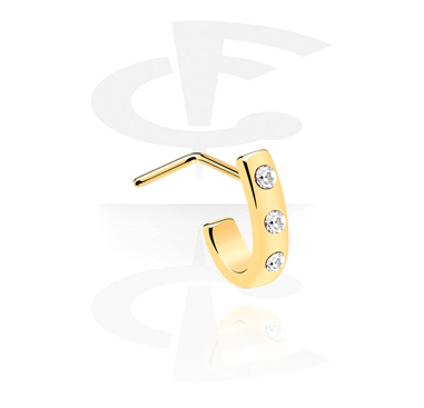 Nose Jewelry & Septums, Curved nose stud, Gold Plated Surgical Steel 316L
