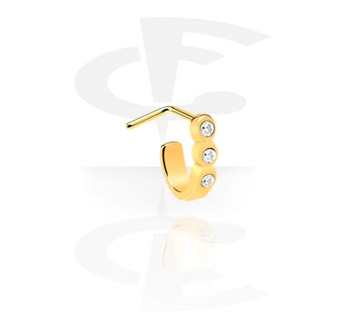 Kolczyki do nosa, Curved Jewelled Nose Stud, Gold Plated