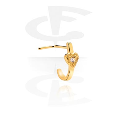 Nosovky a kroužky do nosu, Curved Jewelled Nose Stud, Gold Plated