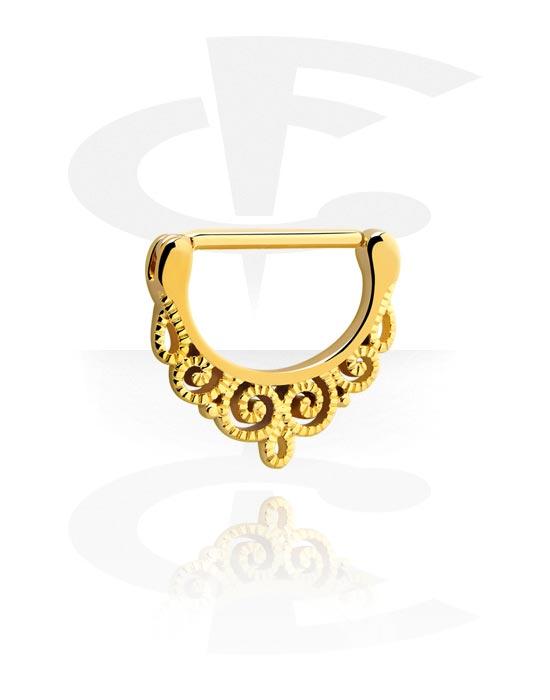Biżuteria do piercingu sutków, Nipple Clicker, Pozłacana stal chirurgiczna 316L