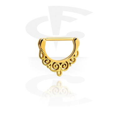 Nipple Piercings, Nipple Clicker, Gold Plated Surgical Steel 316L