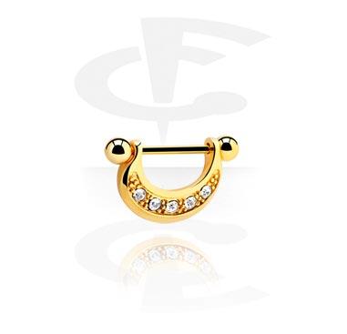 Nipple Piercings, Nipple Shield, Gold Plated Surgical Steel 316L