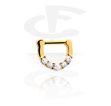 Kolczyki do nosa, Jewelled Septum Clicker, Gold Plated