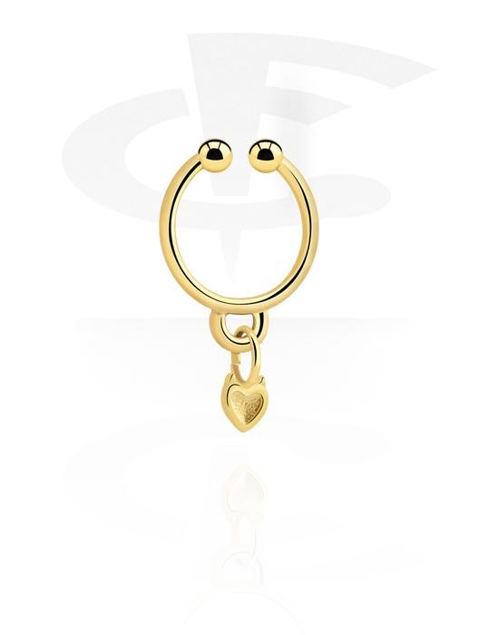Piercing fake, Fake septum con ciondolo a cuore, Acciaio chirurgico 316L con placcatura in oro