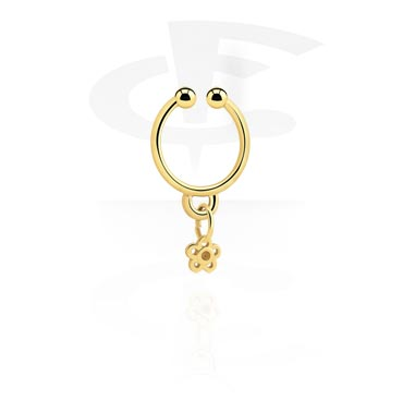 Fake Piercings, Fake septum with flower charm, Gold Plated Surgical Steel 316L