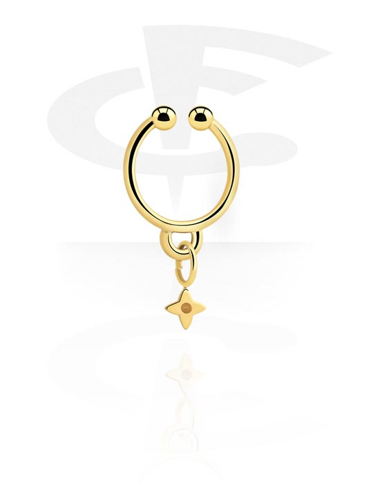 Piercing fake, Fake septum con ciondolo stella, Acciaio chirurgico 316L con placcatura in oro