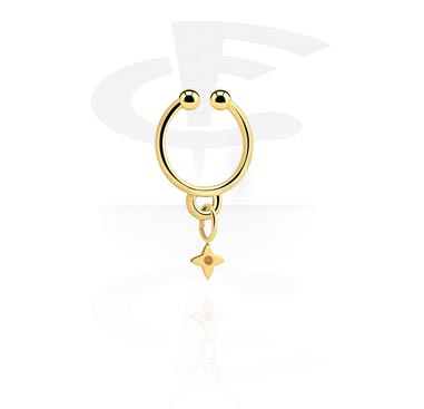 Fake Piercings, Fake septum with star pendant, Gold Plated Surgical Steel 316L