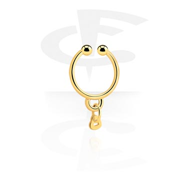 Fake Piercings, Fake septum with heart pendant, Gold Plated Surgical Steel 316L