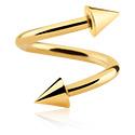 Espirales, Espiral con Conos, Acero quirúrgico 316L chapado en oro