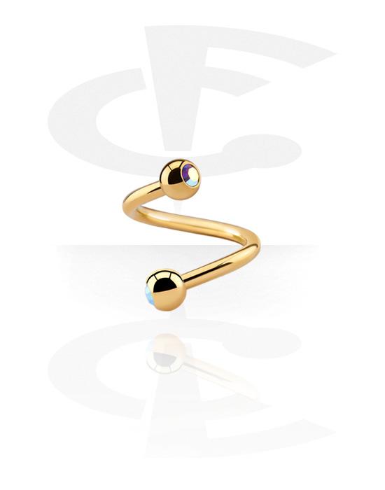 Spirali, Spirale con palline con brillantino, Acciaio chirurgico 316L con placcatura in oro