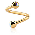 Spirale, Spiral s jewelled balls, Gold Plated Surgical Steel 316L
