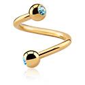 Spirales, Spirale avec Boule avec pierre en cristal, Acier chirugical 316L plaqué or