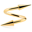Spirale, Spiral s long cones, Gold Plated Surgical Steel 316L
