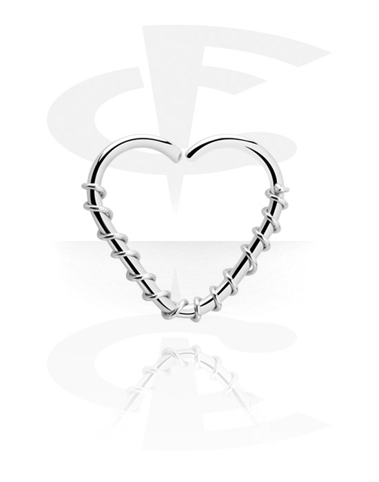 Piercing Rings, Heart-shaped Continuous Ring, Surgical Steel 316L