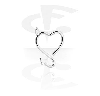 Kółka do piercingu, Heart-shaped Continuous Ring, Surgical Steel 316L