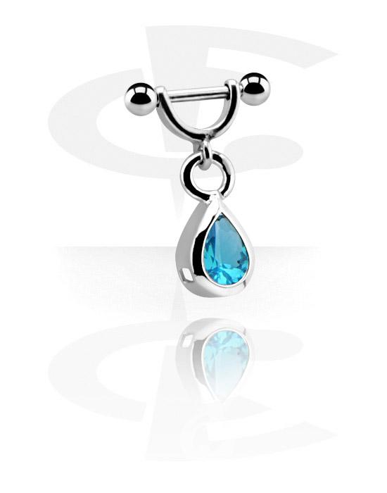 Helix / Tragus, Helix piercing s charm, Chirurgická ocel 316L, Pokovená mosaz