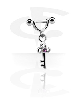 Helix / Tragus, Helix Shield with Charm, Surgical Steel 316L