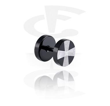 Fake Piercing, Fake plug nero con incisione laser , Acciaio chirurgico 316L