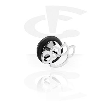 Fake Piercings, Falso plug con Diseño puño americano, Acero quirúrgico 316L
