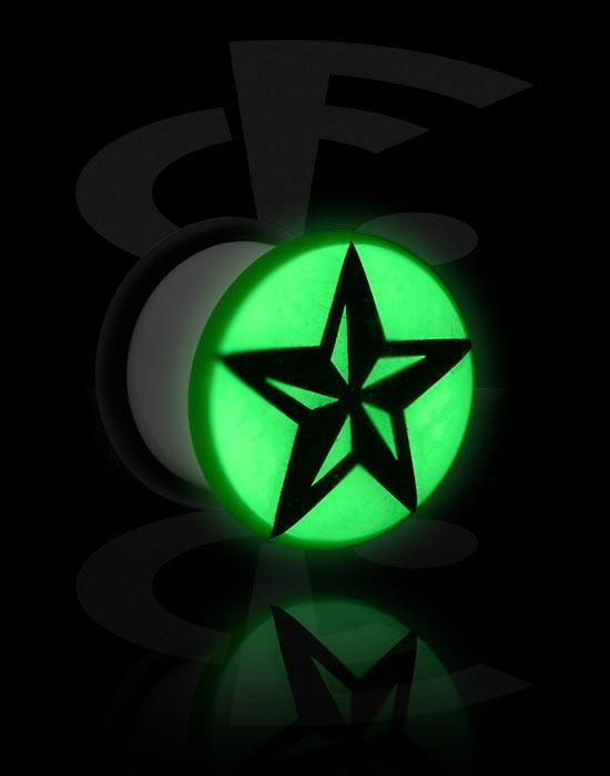 """Tunnel & Plugs, """"Glow in the Dark""""-Single Flared Plug mit O-Ring, Acryl"""