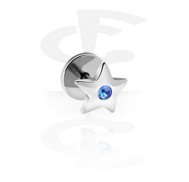Fake Piercings, Jeweled Fake Plug, Surgical Steel 316L