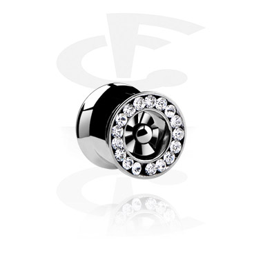 Tunnels & Plugs, Jeweled Tunnel, Surgical Steel 316L