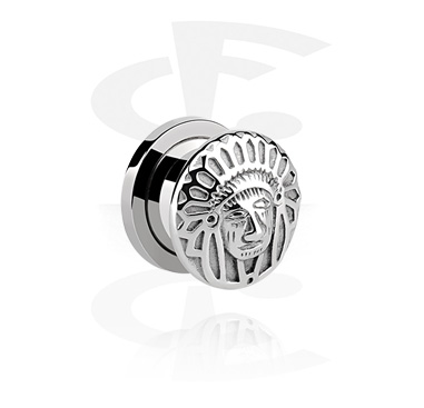 Tunely & plugy, Tunnel with 3D American Indian Head, Surgical Steel 316L