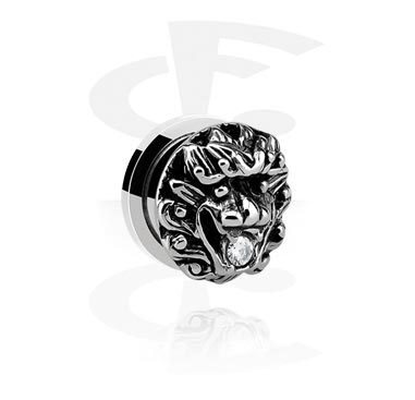 Tunely & plugy, Tunnel with 3D Lion's Head, Surgical Steel 316L