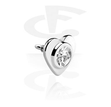 Kuglice i zamjenski nastavci, Steel Jeweled Heart for Internally Threaded Pins, Surgical Steel 316L