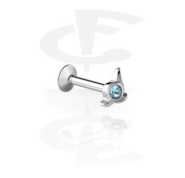 Internally Threaded Micro Labret com Jeweled Steel Cast Attach