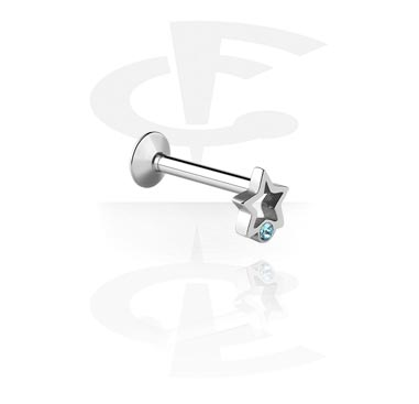 Labrets, 1.2 mm-Labret met interne schroefdraad en sterretjes, Chirurgisch Staal 316L