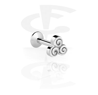 Labretit, Internally Threaded Micro Labret with Steel Cast Attachment, Surgical Steel 316L