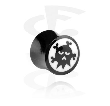 Tunnels & Plugs, Double Flared Plug met handgeschilderd Design, Hoorn