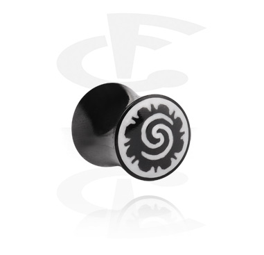 Tunnels & Plugs, Hand-carved Double Flared Plug, Hoorn