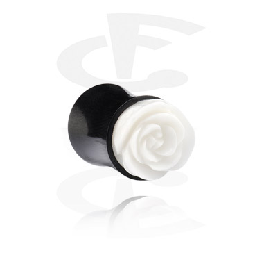 Tunnels & Plugs, Hand-carved Double Flared Plug, Horn