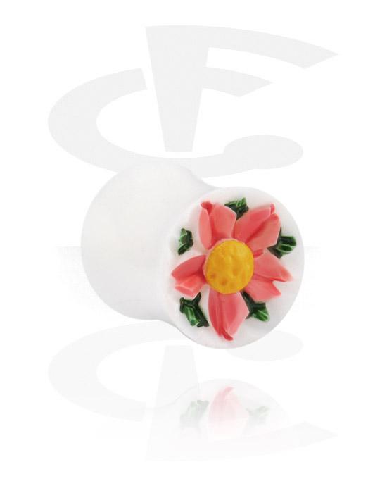 Tunnel & Plugs, Double Flared Plug mit Blumen-Design