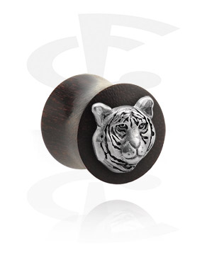 Tunnels & Plugs, Double Flared Plug met staal accessoire, Tamarindehout