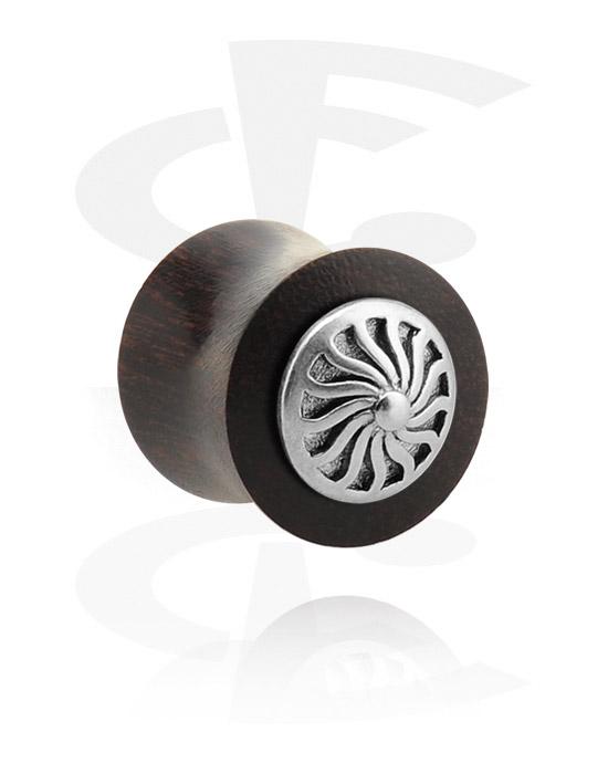 Tunele & plugi, Double Flared Plug z steel inlay, Drewno tamaryndowca