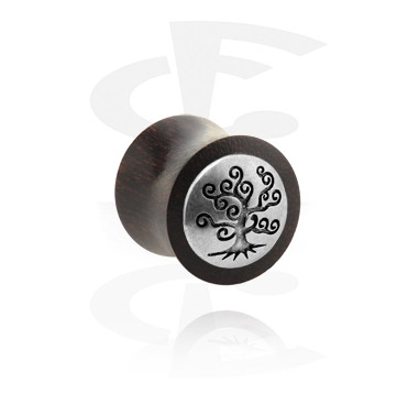 Tunnels & Plugs, Double Flared Plug met metaal-accessoire, Hout