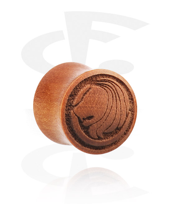 Tunnels & Plugs, Double Flared Plug met Laser Engraving, cherry wood