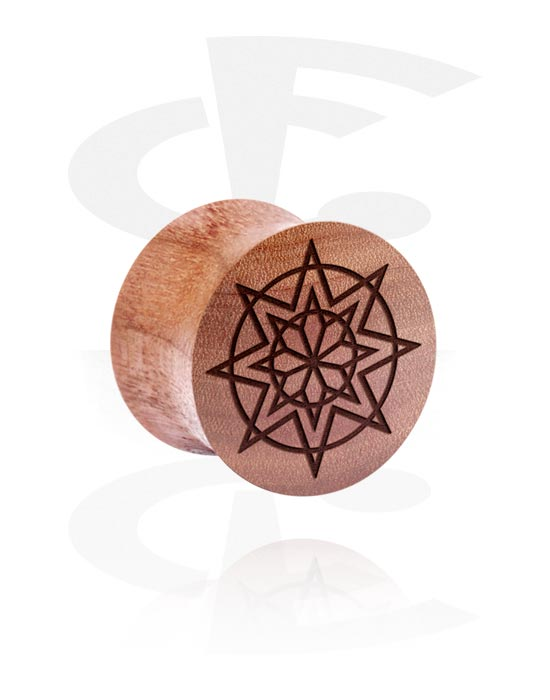 Tunnels & Plugs, Double Flared Plug with Laser Engraving, Cherry Wood