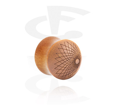 Tunely & plugy, Flared Plug with laser engraving, Wood